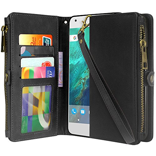 Google Pixel 2 XL Case, Linkertech Premium Leather Flip Zipper Wallet Case Cover with Stand Feature & Card Holder & Wrist Strap for Google Pixel 2 XL (2017) (Black)