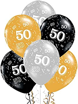 Shenlanyu Balloon 10pcs 12 Inch Gold Silver Black Latex Balloons 50 Years Happy Birthday Party Decorations Adult Helium Balloon 50th Birthday December Random Delivery Amazon Co Uk Toys Games