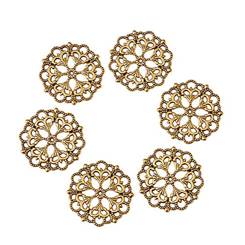(Beadthoven 100-Piece 29mm/1.14''Inch Tibetan Style Filigree Flower Link Antique Colden Joiners Links Flat Round Charms Base Setting Connector for Jewelry Making Finding Supplies Lead Free & Nickel Fre)