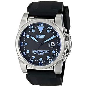 Wrist Armor Men's WA411 C1 Stainless Steel Analog Display Swiss Quartz Watch with Black Silicone Strap