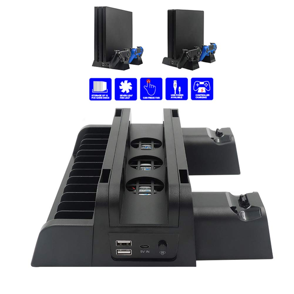Shentesel Cooling Stand Holder Rack Organizer for PS4 Pro Slim Game Console Controllers by Shentesel