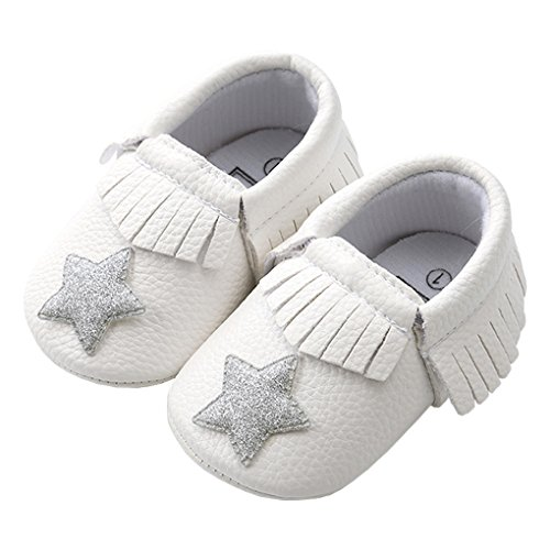 Baby Girls Sparkly Star Tassel Moccasins Soft Sole Anti-Slip House Princess Play Crib Shoes Wihte with Silver Star Size 12 -