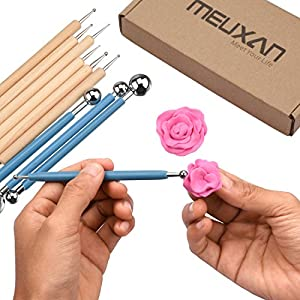 Meuxan 10 Piece Dotting Tools Ball Styluses for Rock Painting, Pottery Clay Modeling Embossing Art