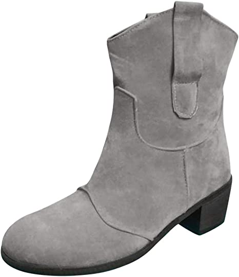 WOMENS LADIES NEW FAUX LEATHER COWBOY WESTERN STYLE ANKLE BOOTS SHOES BOOT SIZE
