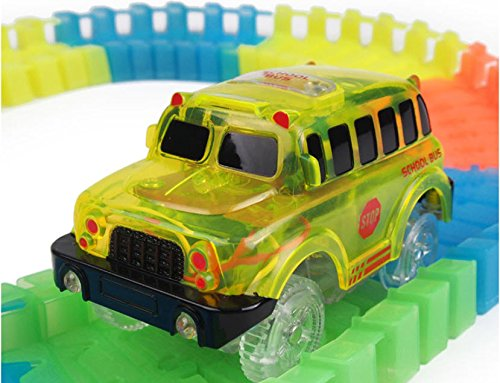 Track Car 3 Pack, Green Military Jeep, Blue Police and School Bus Car, with 5 LED Lights, Compatible with Most Tracks Including Magic Tracks, Neo Twister Tracks, Boys and Girls by HapiSimi (Image #4)
