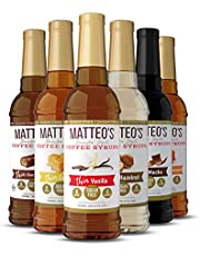 Matteo's Sugar Free Coffee Flavoring Syrup, Variety Pack, Delicious Coffee Syrup, 0 Calories, 0 Sugar coffee syrups (750ML)