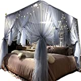 Joyreap Mosquito Bed Canopy Net - Luxury Canopy Netting - 4 Corners Post Bed Canopies - Princess Style Bedroom Decoration for Adults &Girls - for Twin/Full/Queen/King (Grey-Blue, 59