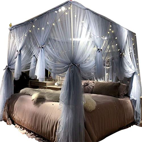 Joyreap 4 Corners Post Canopy Bed Curtain for Girls & Adults - Royal Luxurious Cozy Drape Netting - 3 Opening Mosquito Net - Cute Princess Bedroom Decoration (Gray-Blue, 59