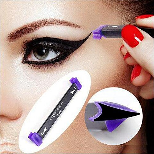 Puya Eyeliner Stamp Set Easy to Makeup Eyeliner Wing Stamp,4 In 1 Eyeliner Stamp,Brush,Liquid Eyeliner Ink (Medium)