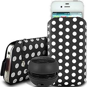 Direct-2-Your-Door - Apple Iphone 5S protector PU tirón del cuero del diseño pestaña de deslizamiento Cable polca en caso de la bolsa con cierre rápido y 3.5mm Mini altavoz recargable - Negro