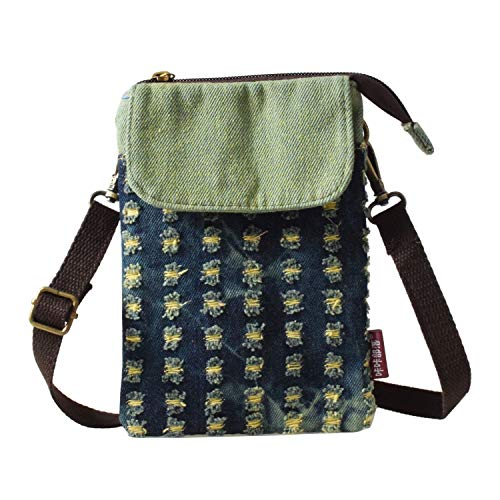 WITERY Women Cute Candy Crossbody Bag/Cellphone Purse/Mini Shoulder Bag/Cellphone Pouch, Canvas 4 Bags Small Wallet with Adjustable Shoulder Strap (Broken Hole Green) ()