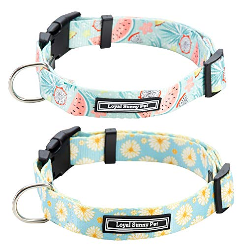 LoyalSunnypet Cute Dog Collar and Leash Set with Quick Release Buckle,Premium,Adjustable Soft Comfortable Floral Collars…