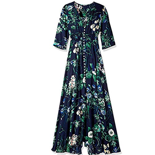 Meflying Women Casual V Neck Half Sleeve Floral Bowknot Front Split Long Dress Dresses Blue