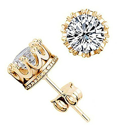 Moon Moon Silver Plated Earrings for Women(Stud Earrings),Retro Crown Design Cubic Zirconia Crystal Flower (14k Gold Flower Band Ring)