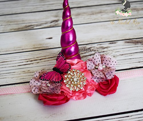 Handcrafted Pink Butterfly Unicorn Horn Headband - Pink and Gold Unicorn Horn Accessory - Unicorn Birthday - Unicorn Costume - Halloween Unicorn Costume Accessory