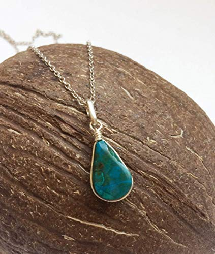 (Tiny Eilat stone pendant, Small teardrop Eilat stone, Natural stone sterling silver pendant, Eilat stone jewelry, Jewelry from Israel )