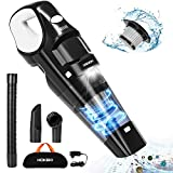 Handheld Vacuum, HOKEKI 6KPA Cordless Hand Vacuum Cleaner Rechargeable Hand Vac, LED Light 120W Stronger Cyclonic Suction Lightweight Wet/Dry Vacuum for Home Pet Hair Car Cleaning