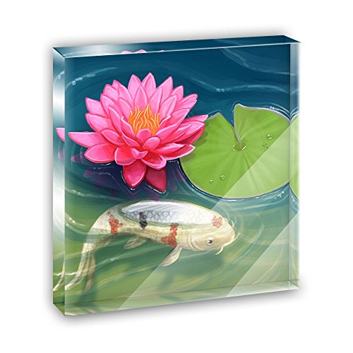 Koi Pond with Lotus Acrylic Office Mini Desk Plaque Ornament Paperweight