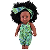 TUSALMO 2019 Newest 12 inch Lifelike Silicone Vinyl Newborn Baby Dolls, African American Baby Black Dolls, give for Kids and Girl Holiday Birthday Gift, African Black Dolls, Reborn