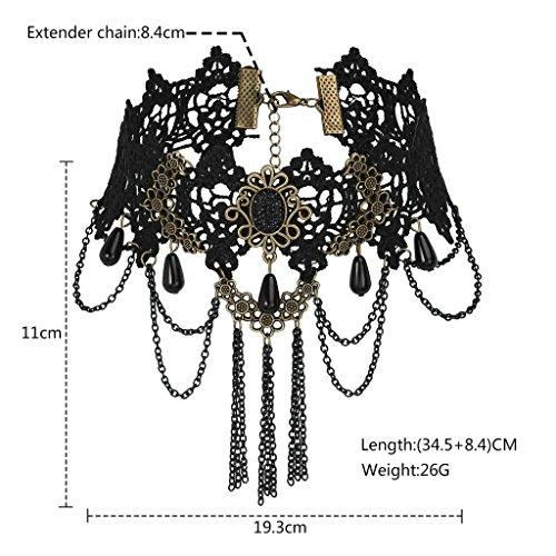 KnSam Ras du Cou Choker Collier Acier Inoxydable Gothique Fleur Dentelle Or Noir [Fille Gothique]
