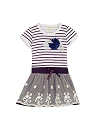 Girl's Stripe Lace Short Sleeve Classic Dresses