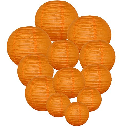Just Artifacts Decorative Round Chinese Paper Lanterns 12pcs Assorted Sizes (Color: Red Orange)
