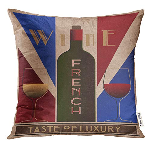 UPOOS Throw Pillow Cover Purple Vintage Here Ru Listing 508712887 French Wine Old in Style Retro Red 1930S 1940S Decorative Pillow Case Home Decor Square 16x16 Inches Pillowcase