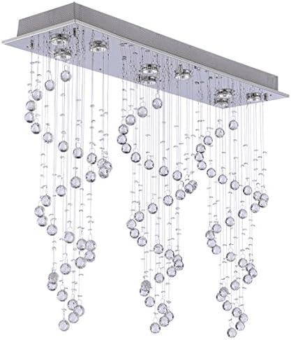 Modern Chandelier Rain Drop Lighting Crystal Ball Fixture Pendant Ceiling Lamp H31 X W39 X D10, 9 Lights,