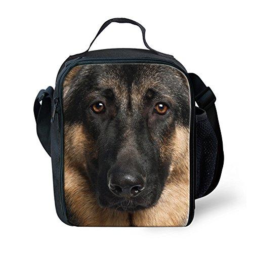 Instantarts Kids Durable Picnic Bag German Shepherd Dog Insulated Lunch Box