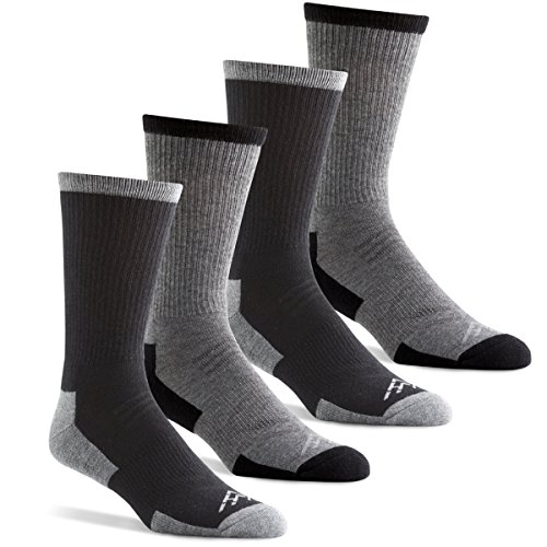 Hidden Peak Outdoor Men's Wool-Free Performance Hiking Crew Socks - Charcoal/Black (Men's Shoe Size 6-12)
