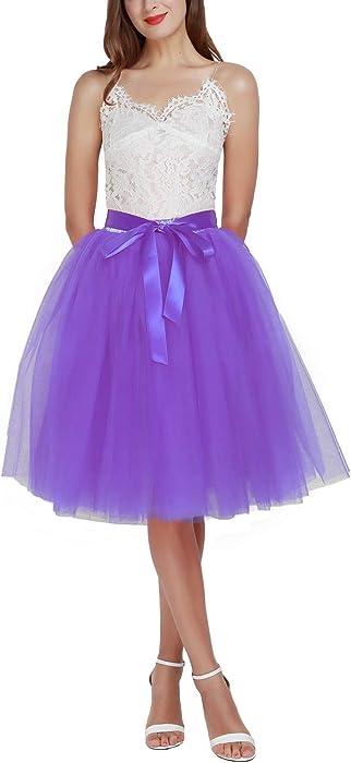 Aysimple Falda de tutú de Las Mujeres Midi Tulle Faldas 6 Capas de ...