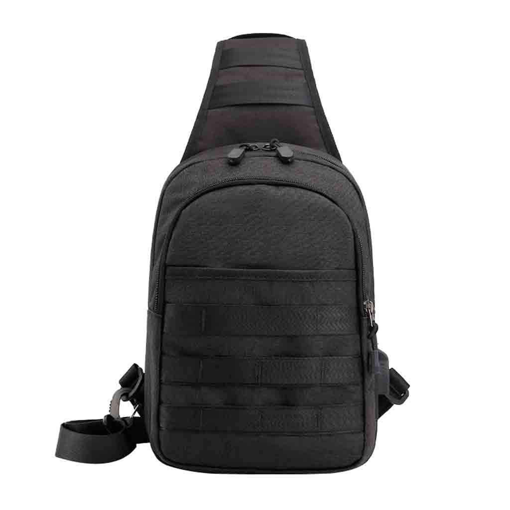 Rakkiss Men Chest Bag Fashion Oxford Cloth Crossbody Bag Anti-Theft Zipper Pocket Portable Waist Bag