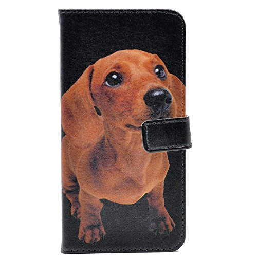 Dachshund Wallet (iphone 6 Case Dachshund Puppies Pattern Leather Wallet Case Stand Cover with Card Slots for Apple iphone 6 6S)