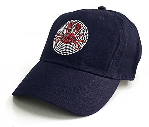 Imported Crab Meat - BLING BLING COUNTRY Cute Crab Design Bling Rhinestone Stud Cotton Adjustable Baseball Cap (Navy)
