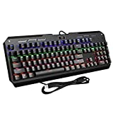 Cheap VicTsing 104-Key Cool Backlit Mechanical Gaming Keyboard with Blue Switches, All-Key Anti-Ghosting, 9 Lighting Patterns, Attached Key Cap Puller, Ideal for Gaming and Typing