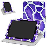 Verizon Ellipsis 10 Rotating Case,Mama Mouth 360 Degree Rotary Stand with Cute Cover for 10.1' Verizon Ellipsis 10 Android Tablet,Giraffe Purple