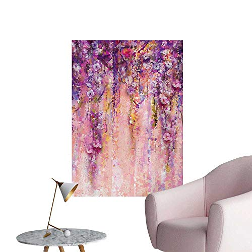 Anzhutwelve Flower Wallpaper Watercolor Painting Effect Wisteria Tree Blossoms Soft Scenic Spring DisplayPink Violet Purple W32 xL36 Poster Print
