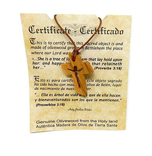 Jesus in Cross Olive Wood Pendant HJW Certificate of Origin