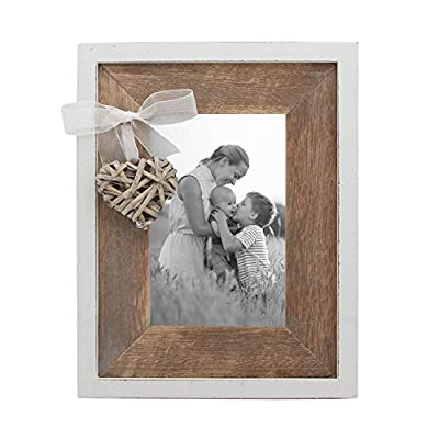 Afuly Wooden Picture Frame 4x6 Rustic Photo Frames with Love Heart in White and Brown Family Wedding Mom Day Gift - ❤️️CUTE HEART DESIGN: Rustic wood frame with woven heart and brown wood mat shows love to lover,friends,family. ❤️️UNIQUE HOME DECOR: Barnwood appearance and elegant white edge embellish rustic styling home. ❤️️EXCELLENT QUALITY: Made of top quality eco-friendly MDF wood and real glass. - picture-frames, bedroom-decor, bedroom - 51HXsQ23ZiL. SS400  -