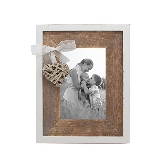 Afuly Wooden Picture Frame 4x6 Rustic Photo Frames with Love Heart in White and Brown Family Wedding Mom Day Gift - ❤️️CUTE HEART DESIGN: Rustic wood frame with woven heart and brown wood mat shows love to lover,friends,family. ❤️️UNIQUE HOME DECOR: Barnwood appearance and elegant white edge embellish rustic styling home. ❤️️EXCELLENT QUALITY: Made of top quality eco-friendly MDF wood and real glass. - picture-frames, bedroom-decor, bedroom - 51HXsQ23ZiL. SS570  -
