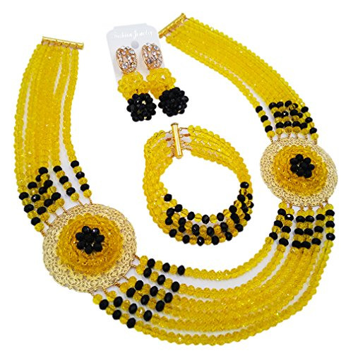 aczuv Nigerian Beads Jewelry Set African Necklaces for Women Crystal Bridal Wedding Jewelry Sets (Yellow Black)