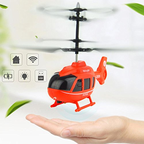 Hemlock Flying Helicopter Toys, Kids Mini Flashing Light Plane Toys Boys Hand Controlled Aircrafts (Red)