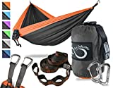 Double Camping Hammock- Best Lightweight & Portable Two Person Hammock Set –Aluminum Wiregate Carabiners, 2-16 Loop Tree Straps & Compression Strap- Holds 500 LBS -Ideal for Travel- Orange Edges