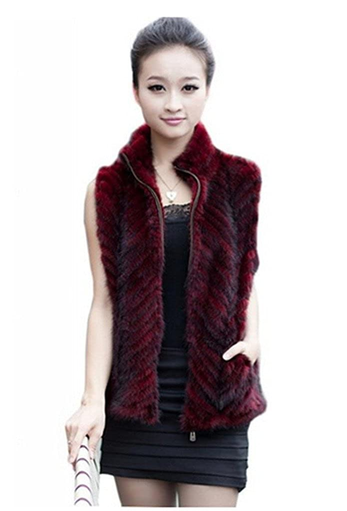 YR Lover Women's Zipper Opening Natural Mink Fur Vest Jacket With Stand Collor False