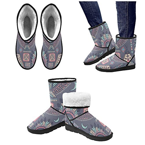 your-fantasia Custom Unisex Snow Boots Vintage Tribal Native American Snow Boots for Women