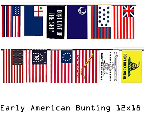 Collection Guilford (Early American Historical Historic 12x18 Bunting String Flag Banner (12 Flags) Super Polyester Nylon Fade Resistant Double Stitched Premium Penant House Banner)