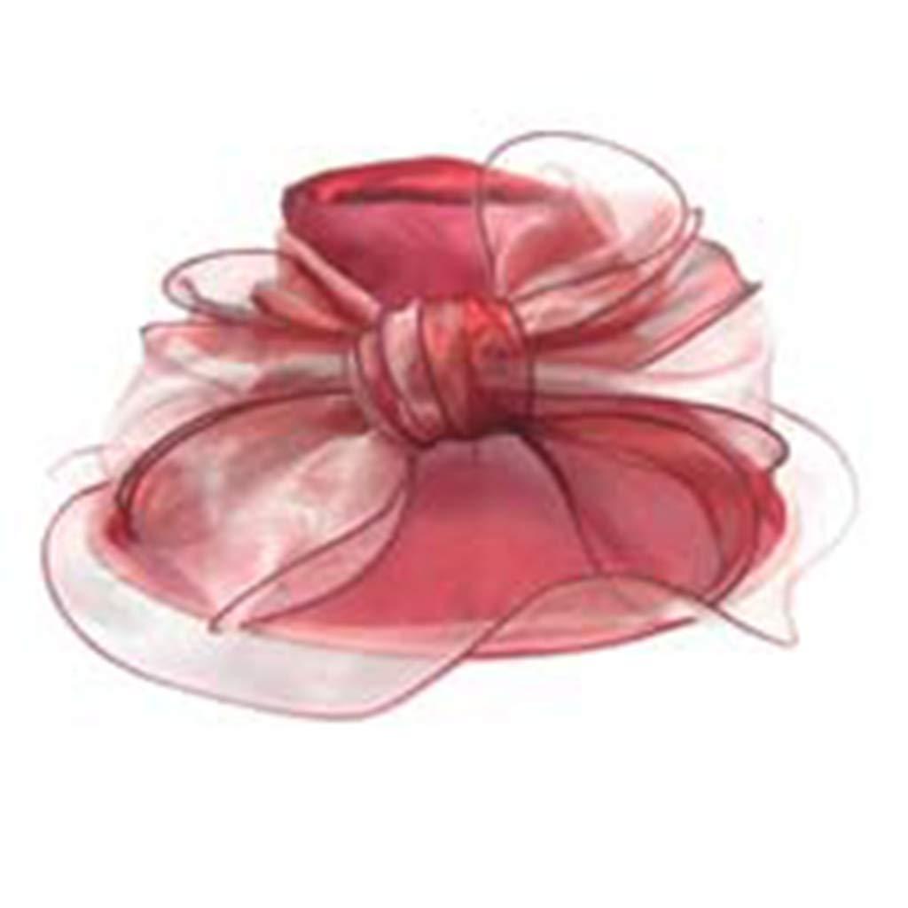 Women's 2-Tone Organza Sun Hats with Bow Ruffle Summer Kentucky Derby Fascinators Hats Elegant Bucket Sun Hats Red