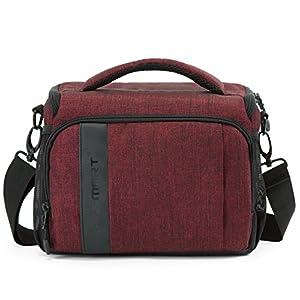 BAGSMART Compact Camera Shoulder Bag for SLR/DSLR with Waterproof Rain Cover, Heather Red