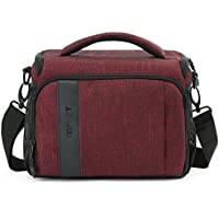 BAGSMART Compact Camera Shoulder Bag for SLR/DSLR with Waterproof Rain Cover, Heather Red