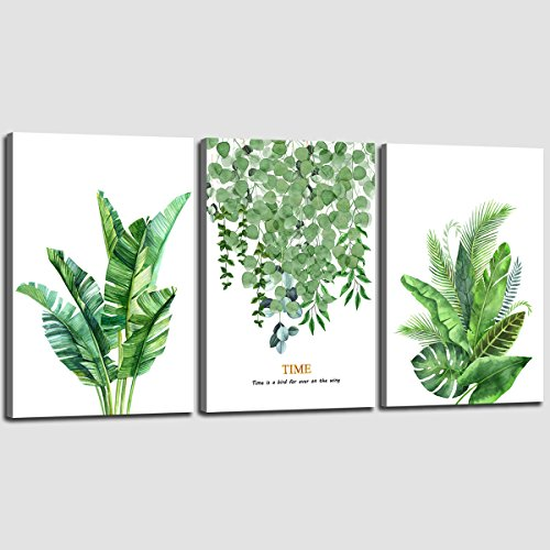 3 Leaf Sofa Piece (Canvas Print Wall Decor Art Leaf Green Plant with Gold Color Series Picture Simple Life Set of 3 Piece 12 x 16
